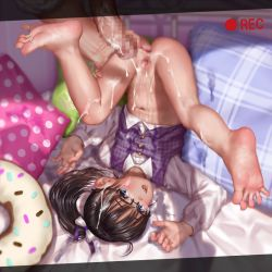 1boy 1girl after_vaginal aftersex asakuraf ass_grab barefoot bed_frame black_hair bottomless bow censored cum cum_in_pussy cum_on_body cum_on_clothes cum_on_hair cum_on_lower_body cum_on_upper_body doughnut_pillow facial feet flat_chest fukuyama_mai glasses hair_bow hair_ornament hair_scrunchie idolmaster idolmaster_cinderella_girls loli long_hair long_sleeves mosaic_censoring navel on_bed open_mouth penis pillow pink_pillow plaid_pillow polka_dot_pillow ponytail pussy pussy_juice scrunchie shiny shiny_hair shoe_soles shoes soles solo_focus spread_pussy toes upper_teeth upside-down visible_breath white_bow