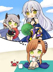 3girls arm_up ball bare_shoulders beachball bikini braid breasts brown_hair camieux chibi cleavage crab draph granblue_fantasy green_eyes grey_hair hair_ornament hair_up horns innertube lonely long_hair multiple_girls one-piece_swimsuit open_mouth panda_(azarashi_suki) sarong shaved_ice sidelocks silva_(granblue_fantasy) silver_hair single_braid sitting smile song_(granblue_fantasy) swimsuit tears yellow_eyes