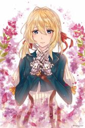 1girl :  blonde_hair bougainvillea_(flower) braid closed_mouth glint hair_ribbon hands_up highres kinyoko long_sleeves looking_at_viewer prosthetic_hand red_ribbon ribbon simple_background solo standing twitter_username upper_body violet_evergarden violet_evergarden_(character)