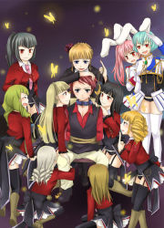 1boy 6+girls animal_ears asmodeus beatrice beelzebub belphegor bunny_ears butterfly chiester410 chiester45 chiester_sisters collar inoue_yuka leash leviathan_(umineko) lucifer mammon multiple_girls necktie no_naku_koro_ni_(series) pink_necktie pos87 ryuukishi07 satan showgirl_skirt stakes_of_purgatory thighhighs umineko_no_naku_koro_ni uniform ushiromiya_battler rating:Safe score:1 user:danbooru