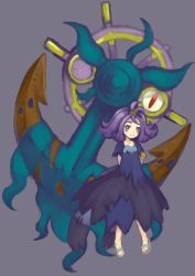 1girl :3 acerola_(pokemon) anchor aqua_shoes armlet arms_behind_back closed_mouth dhelmise dress elite_four flipped_hair full_body hair_ornament half_updo highres karaage_(pixiv3291302) pokemon pokemon_(creature) pokemon_(game) pokemon_sm purple_background purple_eyes purple_hair sandals seaweed shoes short_hair short_sleeves smile standing stitches torn_clothes torn_dress torn_sleeves trial_captain