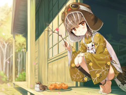 1girl anklet ayakashi_kyoushuutan barefoot bird bird_girl blush branch brown_eyes brown_hair brown_headwear cura day feathers floral_print food fruit full_body goggles goggles_on_head goggles_on_headwear hat highres hiyo_(whisp) holding_branch japanese_clothes jewelry looking_at_viewer monster_girl multicolored_hair orange outdoors porch short_hair smile solo squatting streaked_hair white_hair wide_sleeves