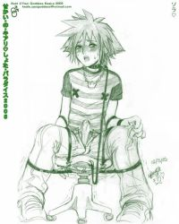 1boy bdsm blush bondage bound bulge chair collar cum cum_on_clothes kingdom_hearts leash male_focus monochrome panties penis shota solo sora_(kingdom_hearts) spread_legs underwear unzipped yaoi_goddess_keale rating:Explicit score:40 user:invisible