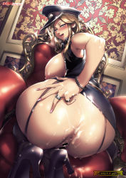 1girl aftersex anus ass breasts censor_bar censored cum cum_in_pussy cum_on_ass curvy hat high_heels huge_ass huge_breasts looking_back orushibu plump squatting wide_hips rating:Explicit score:89 user:Marcerner