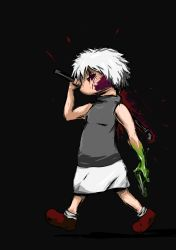.flow 1girl bangs blood burdock gobou_(gobou-san) holding lead_pipe sabitsuki short_hair sidelocks silver_hair skirt sleeveless sleeveless_turtleneck solo turtleneck