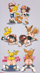 1boy 1girl ahegao all_fours anal anus ass ass_grab ayumi_(pokemon) baseball_cap bent_over bestiality blush brown_eyes brown_hair clothed_sex comic creatures_(company) doggystyle eevee electricity english_text from_behind fucked_silly game_freak gen_1_pokemon happy hat heart hetero highres hug kakeru_(pokemon) loli moaning nintendo open_mouth panties panty_pull penis petting pikachu pink_panties pokemon pokemon_(game) pokemon_lgpe ponytail pussy rape rolling_eyes scratching sex shadman shorts shorts_pull shota smile sneaker tail tears testicles text_focus tongue tongue_out top-down_bottom-up underwear yaoi rating:Explicit score:72 user:Perv-Ultra