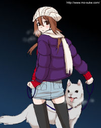 1girl black_legwear breath brown_eyes brown_hair collar dog hat jacket leash long_hair mattaku_mousuke original pencil_skirt scarf simple_background skirt solo thighhighs rating:Safe score:0 user:danbooru