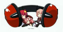 11eyes 3girls azuma_shione barrette chibi eyes_closed headphones highres kouno_mio lass_(company) multiple_girls natsuki_kaori pink_hair red_hair school_uniform sitting sleeping
