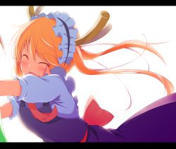 2girls blonde_hair blush bow breasts dragon_girl dragon_horns dress eyebrows_visible_through_hair eyes_closed fangs horns hug hug_from_behind kobayashi-san_chi_no_maidragon kobayashi_(maidragon) kurai_masaru letterboxed maid_headdress medium_breasts multiple_girls neck_ribbon open_mouth out_of_frame ribbon short_hair_with_long_locks short_sleeves simple_background smile solo_focus tooru_(maidragon) twintails upper_body white_background