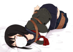 1girl arms_behind_back bdsm bed black_hair black_legwear bondage bound bound_ankles bound_legs bound_wrists breast_bondage cardigan chiaki_(hoojiro_(found1093)) eyes_closed full_body gag gagged hoojiro_(found1093) ie_ni_kaettara improvised_gag legs_together long_hair lying mask no_shoes on_side open_cardigan open_clothes original pillow plaid plaid_skirt school_uniform serafuku skirt solo surgical_mask tape tape_bondage tape_gag thighhighs tied_up zettai_ryouiki rating:Safe score:25 user:danbooru