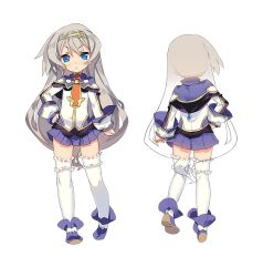 >:< 1girl :< blade_(galaxist) blue_eyes closed_mouth from_behind full_body grey_hair hairband long_hair lucille_aleister multiple_views official_art pleated_skirt pop-up_story skirt solo thighhighs transparent_background very_long_hair white_legwear
