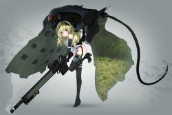 1girl bangs black_boots black_gloves black_legwear blush boots cloak commentary covered_navel elbow_gloves eyebrows_visible_through_hair full_body gloves green_hair grey_background gun hair_between_eyes headgear highres holding holding_gun holding_weapon leotard long_hair looking_at_viewer mecha_musume military oota_youjo original parted_lips red_eyes rifle scope shadow sniper_rifle solo standing standing_on_one_leg suppressor thigh_boots thighhighs thighs weapon rating:Safe score:6 user:danbooru