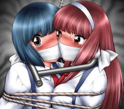2girls bdsm blue_hair blush bondage bound bound_together breast_press breasts brown_eyes chains cloth_gag female gag gagged improvised_gag lock long_hair medium_breasts multiple_girls necktie original over_the_mouth_gag red_hair rope shingyouji_tatsuya short_hair sweat symmetrical_docking tied_together uniform rating:Questionable score:46 user:inky