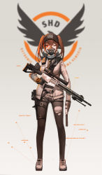 1girl absurdres assault_rifle baseball_cap black_hat black_legwear black_necktie black_soldier breasts brown_hair covered_mouth cross-laced_footwear emblem full_body gas_mask gun handgun hat highres holding holding_gun holding_weapon holster jacket legwear_under_shorts logo long_hair long_sleeves mask medium_breasts necktie one_eye_closed open_clothes open_jacket original pantyhose pistol red_eyes rifle shoes short_shorts shorts sig_sauer simple_background solo standing suppressor thigh_holster tom_clancy's_the_division torn_clothes torn_pantyhose trigger_discipline twintails weapon white_shoes rating:Safe score:12 user:danbooru