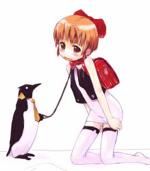 artist_request backpack bag bird blush bow collar leash loli necktie penguin randoseru tagme thighhighs rating:Questionable score:8 user:Anonymous