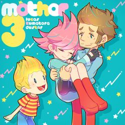 1girl 2boys artist_name belt bike_shorts blonde_hair blue_eyes boots brown_hair carrying duster_(mother) eyes_closed facial_hair fingerless_gloves gloves hand_on_another's_shoulder hood hoodie kumatora lucas messy_hair mother_(game) mother_3 multiple_boys mysticotoe pants pink_eyes pink_hair princess_carry quiff short_hair shorts star striped wavy_mouth rating:Safe score:0 user:danbooru