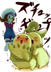 >_< blush brown_hair chikorita drooling hagisu hat heart kotone_(pokemon) low_twintails monster open_mouth pokemon pokemon_(creature) pokemon_(game) pokemon_hgss red_eyes sex simple_background text twintails white_background