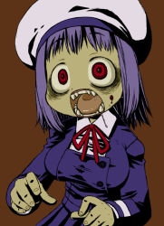 1girl bad_id beret blood crazy_eyes harukaze_unipo hat open_mouth original purple_hair red_eyes solo unipo yukari-chan zombie rating:Safe score:8 user:danbooru