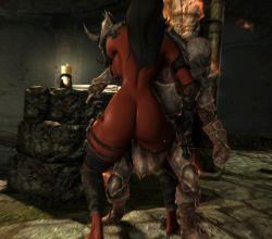 1girl ass breasts daedra demon_girl huge_ass huge_breasts skyrim sword weapon