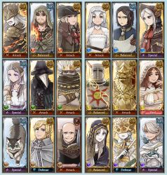 6+boys 6+girls alfred_(bloodborne) alvina_of_the_darkroot_wood armor bags_under_eyes bald beard blonde_hair bloodborne blue_eyes breasts brown_eyes brown_hair cat cleavage collar commentary company_captain_yorshka covered_eyes crossed_arms crossover crown dark_souls dark_sun_gwyndolin dragon_slayer_ornstein eileen_the_crow emlan english_text facial_hair fake_screenshot full_armor fur_trim granblue_fantasy hair_over_one_eye helmet_over_eyes highres hood iosefka lady_maria_of_the_astral_clocktower large_breasts laurentius_of_the_great_swamp long_sideburns looking_at_viewer looking_away lorian_(elder_prince) lothric_(younger_prince) mask mask_over_one_eye mole mole_on_breast multiple_boys multiple_girls nameless_king no_eyebrows orbeck_of_vinheim parody patches_the_hyena plague_doctor_mask plain_doll pointy_ears ponytail priscilla_the_crossbreed queen_of_sunlight_gwynevere robe scarf scarf_over_mouth slug smile smirk solaire_of_astora souls_(from_software) sweet_shalquoir torn_clothes veil white_hair white_skin yellow_eyes