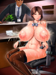 1boy 1girl areolae breasts brown_eyes brown_hair clothed_male_nude_female counter evil_grin faceless_male gigantic_breasts huge_breasts indoors lactation large_areolae looking_at_viewer name_tag navel neck_ribbon nipples nude original restrained shoujo_kousaku_(eltole) sitting tagme thighhighs rating:Explicit score:29 user:Marcerner