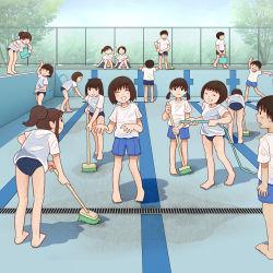 4boys 6+girls ^_^ child eyes_closed kiyo_(kyokyo1220) legs multiple_boys multiple_girls original school_swimsuit see-through smile swimsuit wet rating:Safe score:13 user:Gaudy