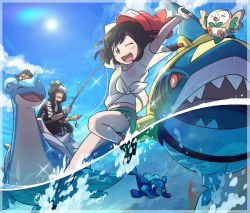 1boy 1girl ;d bangs bare_legs beanie black_hair blue_eyes blue_sky blush_stickers day dhelmise female_protagonist_(pokemon_sm) fishing_rod floral_print green_shorts guzma_(pokemon) hat holding holding_fishing_rod lapras litten one_eye_closed open_mouth pokemon pokemon_(creature) pokemon_(game) pokemon_sm popplio red_hat riding rowlet ryanpei see-through_silhouette sharpedo shirt shoes short_hair short_shorts short_sleeves shorts sky smile sneakers spinarak sun sunglasses swept_bangs t-shirt tied_shirt water white_hair z-ring