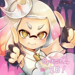 ! +_+ 1girl bare_shoulders blush conomi-c5 countdown crown domino_mask fingerless_gloves gloves gradient_hair hime_(splatoon) index_finger_raised looking_at_viewer mask mole mole_under_mouth multicolored_hair pink_hair short_eyebrows sleeveless smile solo speech_bubble splatoon splatoon_2 symbol-shaped_pupils tentacle_hair text twitter_username two-tone_hair upper_body white_hair yellow_eyes zipper