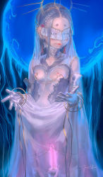 1=2 1girl eyes_closed flat_chest highres labia_piercing linked_piercing loli nipple_chain nipple_piercing nipple_rings nipples original piercing pussy revealing_clothes see-through solo veil rating:Questionable score:29 user:danbooru