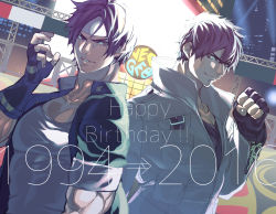 10s 1994 2016 2boys 90s bad_id brown_eyes brown_hair clenched_hand dual_persona fingerless_gloves gloves grin headband highres hohehohe jacket kusanagi_kyou male_focus multiple_boys muscle shirt short_hair smile smirk snk solo stadium t-shirt the_king_of_fighters the_king_of_fighters_xiv