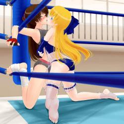 #13 bearhug feet femdom fingerless_gloves forced forced_kiss kagura_(#13) kiss minako_(#13) molestation no_shoes toeless_legwear toes wrestling wrestling_ring yuri