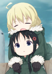 2girls :o ahoge anger_vein bangs black_gloves black_hair blonde_hair blue_eyes blue_sky blush chito_(shoujo_shuumatsu_ryokou) cloud commentary_request day drooling eyes_closed fur-trimmed_jacket fur-trimmed_sleeves fur_trim gloves green_jacket hair_between_eyes hair_tie highres jacket long_hair long_sleeves low_twintails lying_on_person military military_jacket military_uniform multiple_girls open_mouth outdoors parted_lips revision saliva shoujo_shuumatsu_ryokou sitting sky sleeping sleeves_past_wrists tomifumi twintails uniform yuuri_(shoujo_shuumatsu_ryokou) rating:Safe score:4 user:danbooru