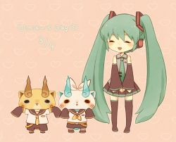 1girl black_legwear blush boots brothers character_name cosplay crossover date_pun dated detached_sleeves english eyes_closed full_body green_hair hatsune_miku heart kagamine_len kagamine_len_(cosplay) kagamine_rin kagamine_rin_(cosplay) kanacho koma-san komajirou komasan long_hair miku_day necktie number_pun open_mouth pleated_skirt ribbon siblings skirt sleeves_past_wrists standing thigh_boots thighhighs twintails very_long_hair vocaloid youkai youkai_watch