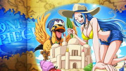 1girl bikini blue_hair breasts carue cleavage clouds duck large_breasts long_hair looking_at_viewer nefertari_vivi one_piece sand sandals sky smile sun winking rating:Safe score:10 user:Ruffy16