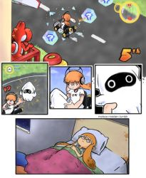 !? 1girl :| bed blanket blooper closed_mouth comic driving gameplay_mechanics go_kart headphones holding inkling left-to-right_manga lying mario_(series) mario_kart_8 meteor_maiden pillow pointy_ears racing riding road silent_comic splatoon squid super_mario_bros. super_mario_world tentacle thinking under_covers watermark web_address yoshi