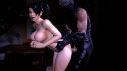 1boy 1girl 3d animated animated_gif black_hair bouncing_breasts breasts clothed_male_nude_female dead_or_alive large_breasts momiji_(ninja_gaiden) ninja ninja_gaiden nipples nude open_mouth ryu_hayabusa sex