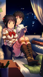 1boy 1girl bangs bdsm black_hair black_legwear black_pants black_skirt blue_eyes bondage bound bow bowtie breasts brown_eyes collared_shirt couple cup curtains desk hair_ribbon hetero highres indoors kimi_no_na_wa kneehighs knees_up legs legs_together mechanical_pencil medium_breasts miyamizu_mitsuha notebook on_bed open_mouth panties pants pencil pillow pleated_skirt post-it red_bow red_bowtie red_ribbon ribbon shibari shibari_over_clothes shirt short_hair short_sleeves sitting skirt skyline smile soles tachibana_taki thighs tokinohimitsu underwear white_panties white_shirt window rating:Questionable score:29 user:danbooru
