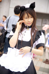 animal_ears apron cat_ears collar cosplay highres leash maid maid_apron photo pochi_(model) rating:Safe score:0 user:Anonymous