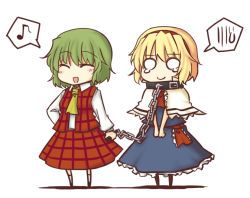 2girls ^_^ alice_margatroid ascot blonde_hair chains chibi collar eyes_closed female green_hair hairband kazami_yuuka leash lysander_z multiple_girls musical_note o_o plaid plaid_skirt plaid_vest quaver short_hair simple_background skirt skirt_set spoken_musical_note tears touhou vest white_background youkai rating:Safe score:0 user:danbooru