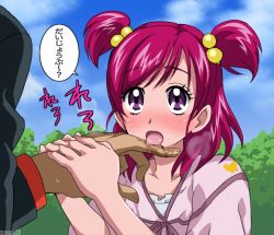 00s 1girl age_difference bad_id blush bunbee bunbee_(yes!_precure_5) eyelashes finger_licking hair_bobbles hair_ornament licking maeashi pink_hair precure purple_eyes saliva sexually_suggestive size_difference twintails two_side_up yes!_precure_5 yumehara_nozomi rating:Questionable score:6 user:danbooru