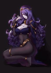 1girl absurdres black_background bodystocking breasts bridal_gauntlets camilla_(fire_emblem_if) cape cleavage cosplay feet fire_emblem fire_emblem:_kakusei fire_emblem_if hair_over_one_eye highres kneeling large_breasts lips long_hair navel nintendo no_shoes purple_hair shiomi_(shiomi101010) sidelocks smile solo tharja tharja_(cosplay) thighs tiara toes very_long_hair wavy_hair