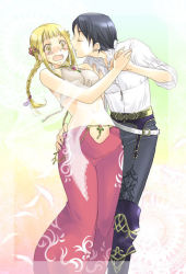 1boy 1girl artist_request blonde_hair blush braid breasts closed_mouth final_fantasy final_fantasy_xii final_fantasy_xii_revenant_wings larsa_ferrinas_solidor long_hair midriff older penelo short_hair source_request twintails rating:Safe score:2 user:danbooru