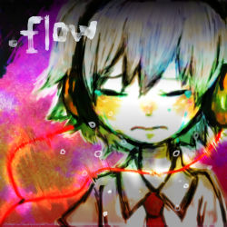 .flow 1girl blush chopeko copyright_name crying eyes_closed headphones necktie portrait psychedelic sabitsuki school_uniform short_hair solo white_hair white_skin younger