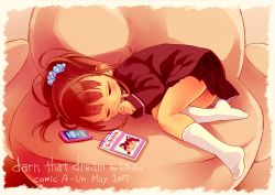 1girl blazer book brown_hair cellphone chair child eyes_closed fetal_position hand_to_own_mouth jacket kiririn kneehighs long_hair lying no_shoes on_side original phone ponytail school_uniform skirt sleeping smartphone solo white_legwear