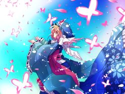 01jou 1girl butterfly female hat japanese_clothes kimono onoe_junki petals pink_eyes pink_hair saigyouji_yuyuko short_hair solo touhou
