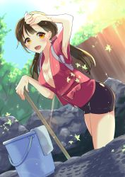 1girl 6_(roku) bike_shorts black_hair breasts cleaning cleavage dutch_angle happy highres leaf long_hair looking_at_viewer medium_breasts moe2016 omucchan_(omutyuan) open_clothes open_mouth open_shirt orange_eyes original outdoors shirt sky smile solo tasuki tree twintails rating:Questionable score:12 user:danbooru