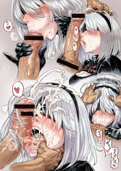 1boy 1girl :>= blindfold censored cum cum_in_mouth cum_on_hair facial fellatio heart irrumatio mole mole_under_mouth nier_(series) nier_automata oral penis penis_on_face sequential short_hair silver_hair spoken_heart yorha_no._2_type_b zhen_lu rating:Explicit score:127 user:danbooru