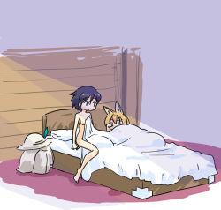 10s 2girls animal_ears bag bed hat kaban_(kemono_friends) kemono_friends multiple_girls nude rubbing_eyes seki_(red_shine) serval_(kemono_friends) serval_ears short_hair under_covers waking_up yuri rating:Safe score:10 user:danbooru