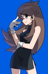 1girl arm_up bangs bare_shoulders black_dress blue_(pokemon) blue_background blue_eyes breasts brown_eyes brown_hair c closed_mouth commentary_request cowboy_shot creatures_(company) dress eyebrows eyebrows_visible_through_hair eyes_visible_through_hair game_freak gloves hair_between_eyes hand_on_own_stomach highres long_hair looking_at_viewer mei_mu nintendo no_hat no_headwear pokemon pokemon_special short_dress sidelocks simple_background sleeveless sleeveless_dress small_breasts smile solo standing very_long_hair white_gloves