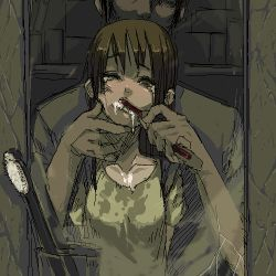 1boy 1girl brown_eyes brown_hair brushing_teeth commentary face forced long_hair lowres mirror oekaki original reflection sexually_suggestive tears toothbrush torn_clothes wet wet_clothes wince ze_(sawakihein) rating:Safe score:63 user:danbooru